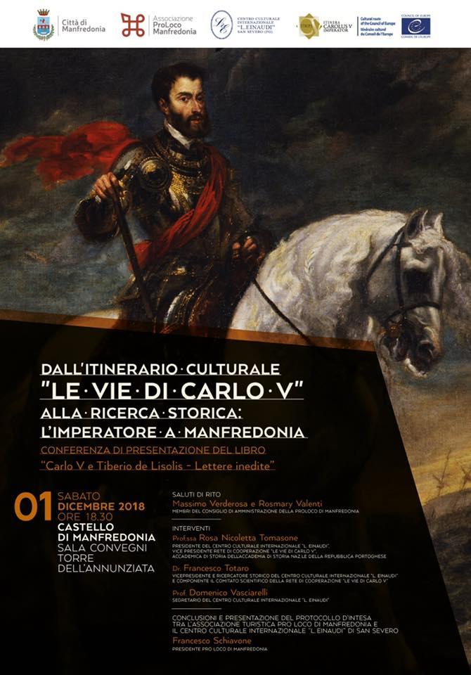 """Manfredonia (FG) – """"Le vie di Carlo V – alla ricerca storica dell'Imperatore a Manfredonia"""""""