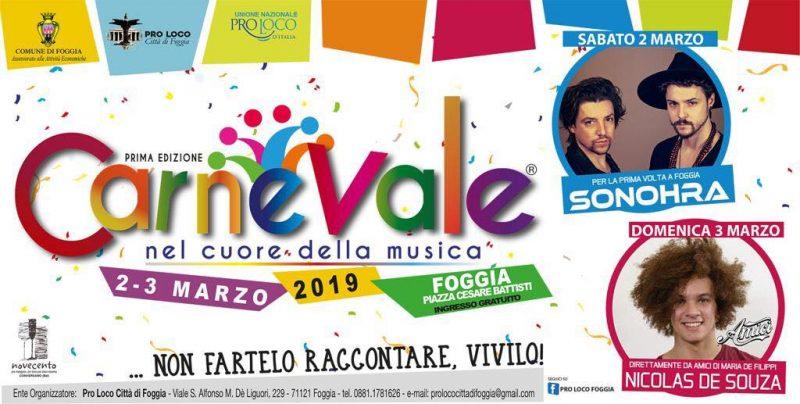 Foggia: Carnevale in Musica con  Sonohra e Nicolas De Souza