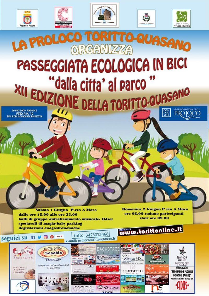 Toritto (BA) – GIORNATA NAZIONALE PRO LOCO 2 Giugno 2019: Città al Parco