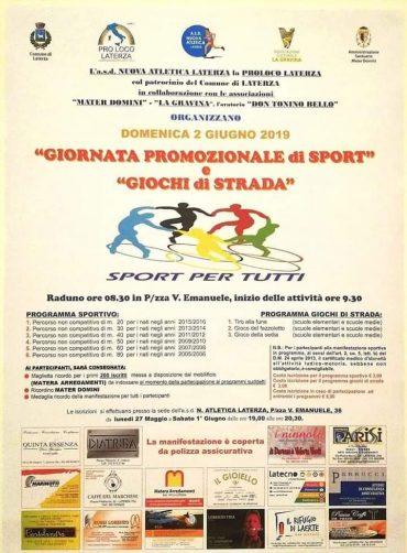 Laterza (BA) – Giornata Nazionale delle Pro Loco – Sport per tutti