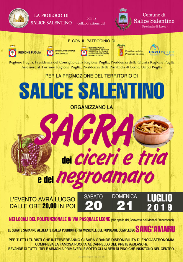 Salice Salentino (LE) – Sagra dei ciceri e tria e del Negroamaro