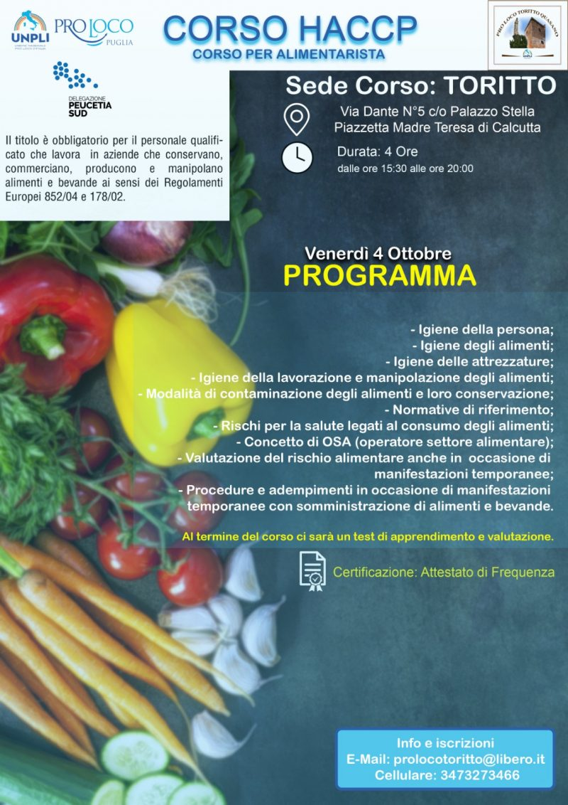 Toritto (BA) – corso di formazione per alimentarista/HACCP