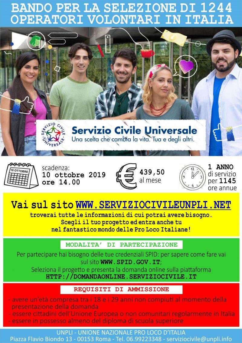 Servizio Civile Universale: candidature entro il 10 ottobre