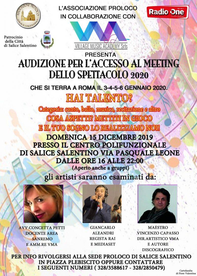 Salice Salentino (LE) – Audizione per l'accesso al meeting dello spettacolo 2020