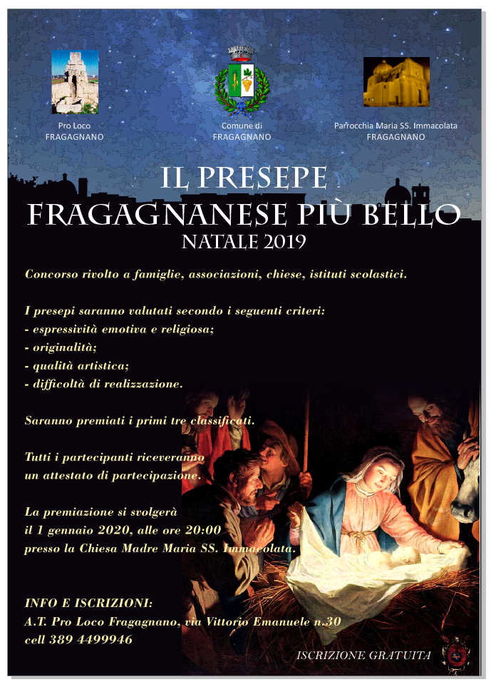 """Fragagnano (TA) – Concorso """"Il presepe fragagnanese più bello – Natale 2019"""""""
