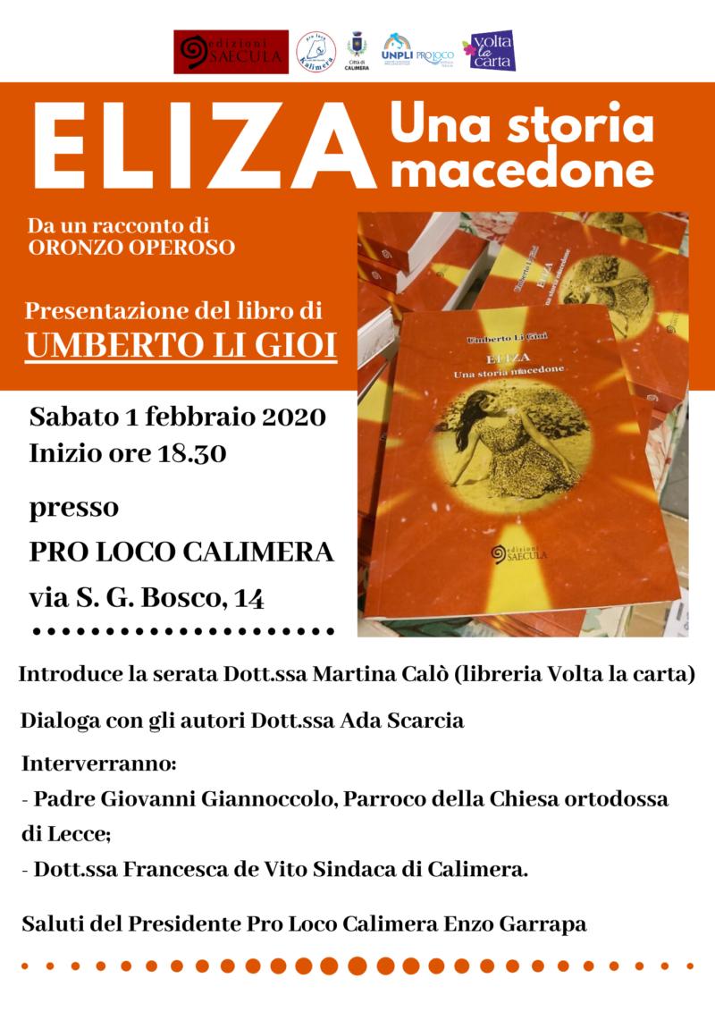 """Calimera (LE) – Presentazione del libro """"Eliza. Una storia Macedone"""""""