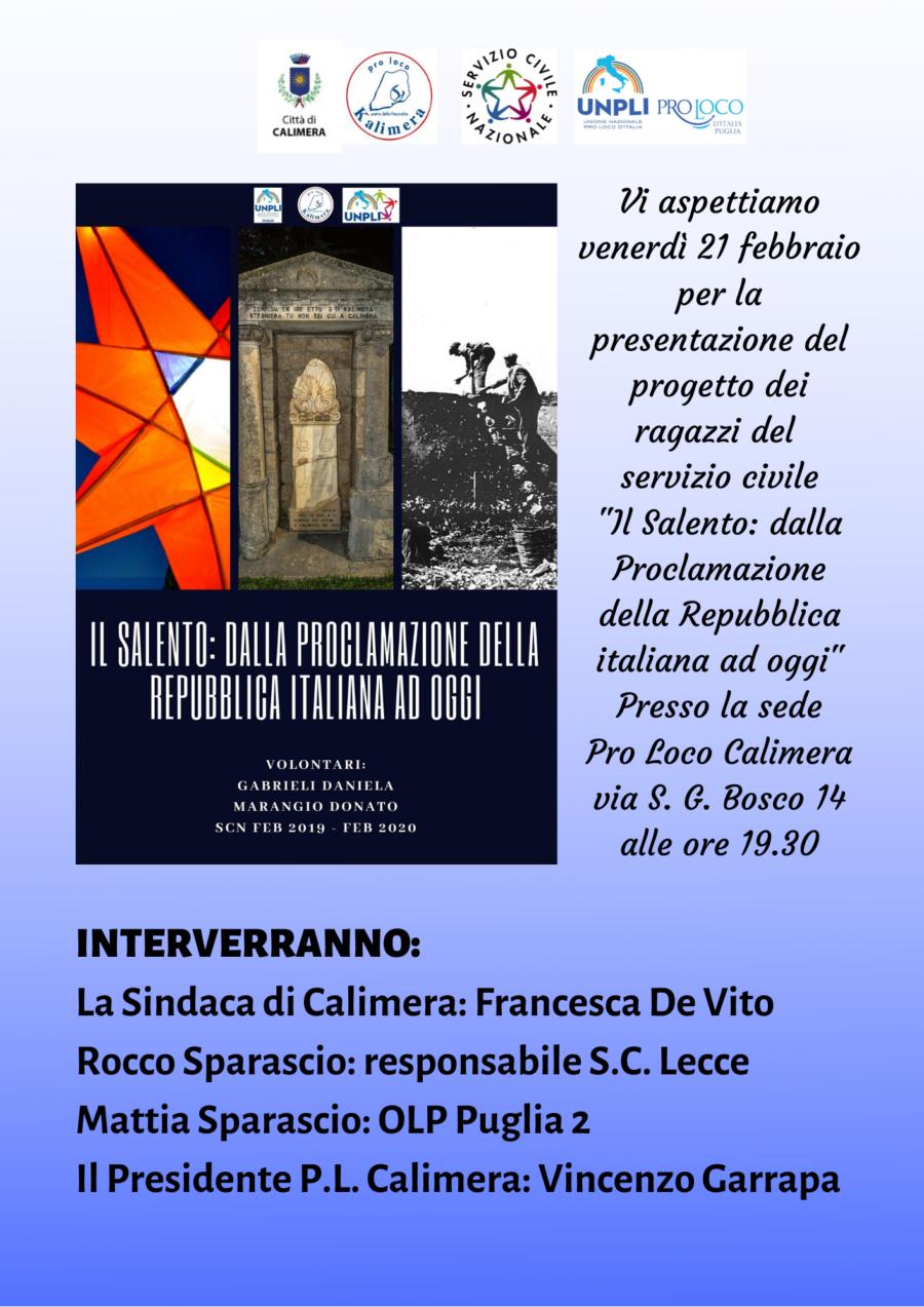 """Calimera (LE) – Presentazione """"Il Salento: dalla proclamazione della Repubblica Italiana ad oggi"""""""