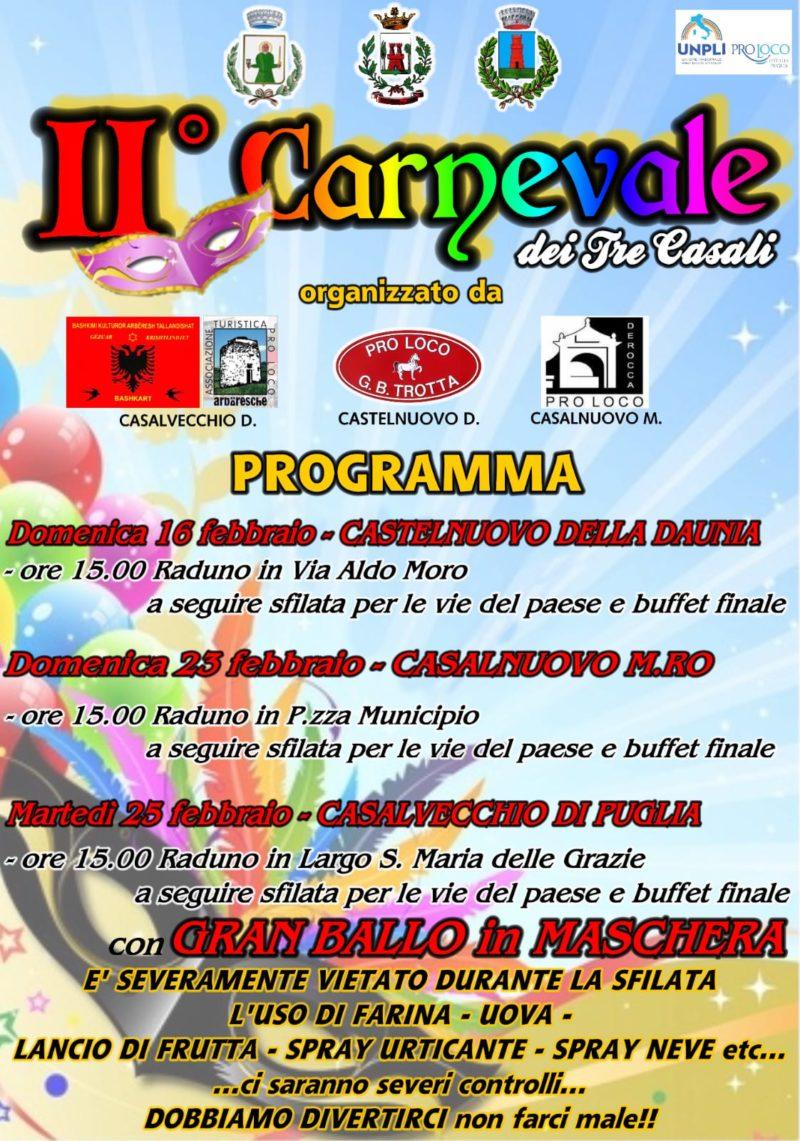 Castelnuovo della Daunia (FG) – Il secondo carnevale dei tre casali a Casalnuovo, Casalvecchio e Castelnuovo