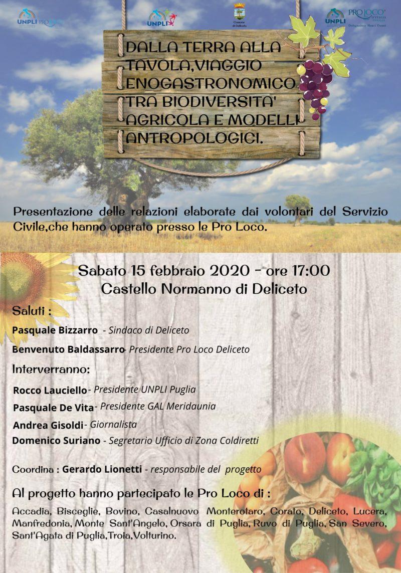 """Deliceto (FG) – Conclusione progetto """"Dalla terra alla tavola, viaggio enogastronomico tra biodiversità agricola e modelli antropologici"""""""
